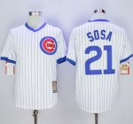mlb chicago cubs #21 sammy sosa white cooperstown stitched jerseys [blue strip]