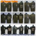 Baseball New York Yankees All Players Option #27 Giancarlo Stanton #99 Aaron Judge Green Salute to Service Jersey