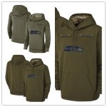Football Seattle Seahawks Olive Salute to Service Sideline Therma Performance Pullover Hoodie