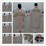 Baseball Houston Astros White 2017 World Series Champions Special Gold Number Flexbase Jersey