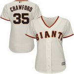 customed women mlb san francisco giants #35 brandon crawford majestic cream new cool base jerseys