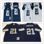 Football Men's Dallas Cowboys #21 SANDERS Mitchell & Ness Retired Player Throwback Jersey