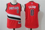 Youth NBA Portland Trail Blazers #0 Damian Lillard Red Stitched Alternate Swingman Jerseys