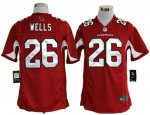 nike nfl arizona cardinals #26 wells red jerseys [game]