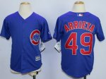 youth mlb chicago cubs #49 jake arrieta blue majestic cool base jerseys