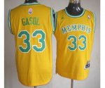 nba memphis grizzlies #33 gasol yellow [revolution 30 swingman]