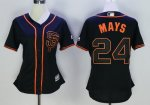 women mlb san francisco giants #24 willie mays majestic black new cool base jerseys