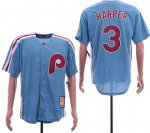 MLB Men Philadelphia Phillies #3 Bryce Harper Light Blue Cool Base Cooperstown Jersey
