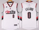 Men's NBA Portland Trail Blazers #0 Damian Lillard White Stitched Swingman Rip City Jersey