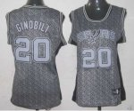 women nba san antonio spurs #20 ginobili grey [static fashion sw