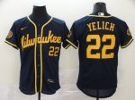 Men's Milwaukee Brewers #22 Christian Yelich New Navy 2020 Stitched Baseball Jersey