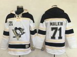Penguins #71 Evgeni Malkin White Sawyer Hooded Sweatshirt Stitched NHL Jersey