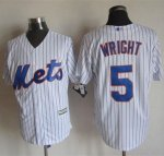 mlb jerseys new york mets #5 Wright White(Blue Strip) New Cool
