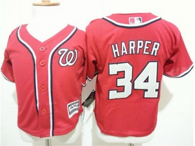 toddler washington nationals #34 bryce harper red cool base stitched mlb jersey